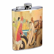 1920s FLAPPERS WITH VINTAGE CAR ART DECO Flask 240ml Stainless Steel D-022