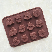 YL 12 Cavities Owl K062 Chocolate Cake Jelly Ice Silicone Fondant Mould Mould Baking