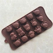 YL Animal World K050 Chocolate Cake Jelly Ice Silicone Fondant Mould Mould Baking
