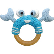 Sindibaba 12144 12 cm Crab Rattle on Wooden Grasp Ring