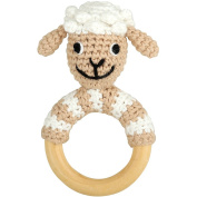 Sindibaba 12192 11 cm Sheep Rattle on Wooden Grasp Ring