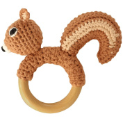 Sindibaba 12200 12 cm Squirrel Rattle on Wooden Grasp Ring