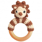 Sindibaba 12219 11 cm Hedgehog Rattle on Wooden Grasp Ring