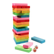 51 Pcs Colour Wooden Blocks Tumbling Jenga Building Tower Stacking Strategy Game Classic Dice Addition Twist