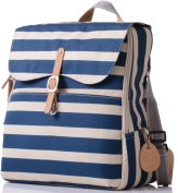 PacaPod Hastings Navy Stripe Lite Designer Baby Changing Bag - Luxury Lightweight Blue Knapsack 3 in 1 Organising System With Convertible BackPack Straps