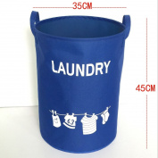 Hoomall Foldable Laundry Hamper Large Cylindric Closet Storage Bin Bag Storage Basket Bucket 34x45cm Blue