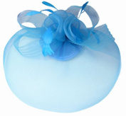 Light Blue Net Fascinator Hat Veil - Wedding Ascot Races Hair Accessories Clip