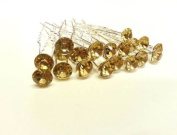 20pcs Champagne Gold - 8mm Glass Crystal Rhinestone Diamante Wedding Bridal Prom Hair Pin