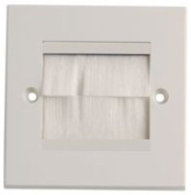 Sound Cables Brush Stripe Cable Entry Single Gang Wall Face Plate Horizontal White Brushes