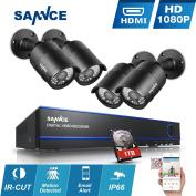 [2.1MP HD] Sannce 4CH 1080p CCTV DVR System w/ 4x HD 1920x1080P Outdoor Security Camera Systems+ 1TB Hard Drive, 2.1 MegaPixels Hi-Resolution, Hybrid DVR/ NVR/ HVR, H.264 Compression, Email Alert