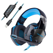 TeckNet 7.1 Channel Surround Sound Gaming Headset Headband Over-Ear Headphone With Noise Canelling Mic Microphone and LED Lighting For PC Computer Gaming, USB Connexion