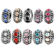 Souarts Mixed Antique Silver Colour Spacer Beads with Rhinestone for Charm Bracelet Pack of 10pcs