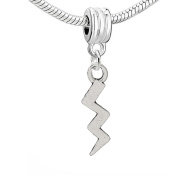 SEXY SPARKLES Women's Lightning Bolt Charm Bead Pendant Compatible For Most Snake Chain Bracelets