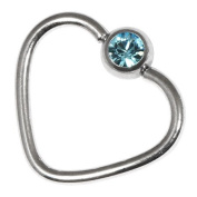 Steel Jewelled Continuous Heart Ring for Helix, Daith, Rim Piercings. 1.2mm gauge. Internal Diameter 10mm. Light Blue Jewel