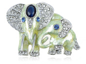 Alilang Silver Tone Clear Crystal Coloured Rhinestones Pearlescent Elephant Brooch Pin