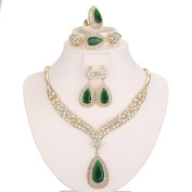 Moochi 18K Gold Plated Green Beads Crystal Chain Necklace / Earrings / Ring / Bracelet Jewellery Set Africa Beads Costume