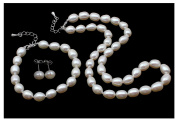 FAB Elegant 8mm Rice Shape Freshwater Pearl Necklace Bracelet and earrings Tri Set - Presented in a beautiful jewellery gift box