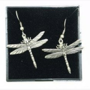 Fine Quality English Pewter Dragonfly Design Earrings, Lovely Gift Idea
