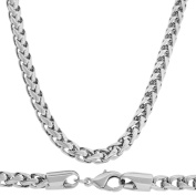 """Men's Finest Luxury Wheat Necklace Silver Finish 6mm 20"""""""