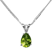 8x6mm Pear Parrot Green Genuine Peridot 925 Sterling Silver Pendant + 16 Inch Curb Chain