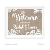 Andaz Press Burlap Lace Print Wedding Collection, Personalised Party Signs, Welcome to Madison's Bridal Shower Sign, 22cm x 28cm , 1-Pack, Custom Made Any Name