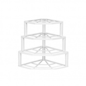 White Plastic 4 Tyre Corner Plate Rack Stracker Storer Storage Rack Stand Holder