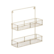 2 Tier Cream Wire Wall Mountable Hanging Spice Herbs Jars Rack Holder