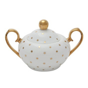 Miss Golightly Sugar Bowl White with Gold Spots