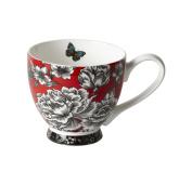 Portobello CM04295 Footed Butterfly Garden White Fine Bone China Mug