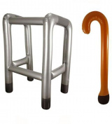 Inflatable Zimmer Frame Walking Frame , With FREE Inflatable Walking Stick Hen Party Stag Party Fancy Dress Fun by Shimmer