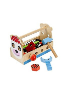Traditional Wooden Baby or Toddler Toy Tool Box Tool Kit