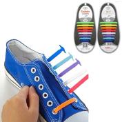 AutumnFall 16PCS/Set Unisex Women Men No Tie Shoelaces Elastic Silicone Shoe Laces Fit All Sneakers
