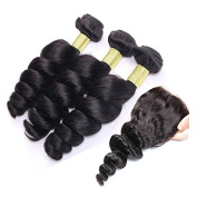 SAOMAI® 6A Mixed Length 3 Bundles Brazilian Human Hair Weave Loose Wave Hair Extention with 1pcs 4*4 Lace Closure Bleached Knots