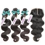 "Rosabeauty Body wave Brazilian Virgin Human Hair Weave Weft 3 Bundles with 4""x3.5"" Lace Closure Middle Part 7a Grade 100% Unprocessed Extensions Natural Colour"