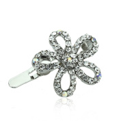 DoubleAccent Hair Jewellery Simulated Crystal Flower Magnet Barrette 1.9cm , White