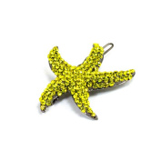 DoubleAccent Hair Jewellery Simulated Crystal Starfish Barrette, Yellow