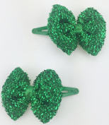 Green Christmas bow clips 2 pk buy green get gold free