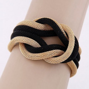 Lvxuan women fashion punk black & golden knotted hemp alloy bracelet