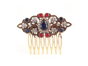 Antique Goldtone Metal & Rhinestone Hair Comb