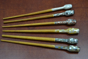 6 Pcs Assort Mother of Pearl Wood Hair Stick Pins