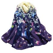 Datework Women Butterfly Printed Flower Soft Chiffon Scarf Wrap Shawl