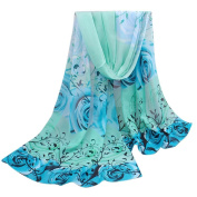 Datework Women Beautiful Rose Pattern Chiffon Shawl Wrap Scarf