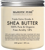 Majestic Pure Shea Butter, Organic Virgin Cold-Pressed Raw Unrefined Premium Grade from Ghana, 240ml