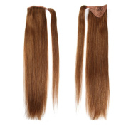 60cm Straight Wrap Around Human Hair Ponytail Extensions For Beauty 100gram Light Brown 8