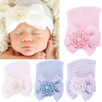 FEITONG Newborn Baby Girl Cute Pretty Bow Flower Pearl Hospital Hat (White)
