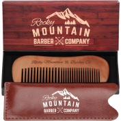 Moustache Beard Comb - Wood with Fine and Medium Tooth for Head Hair, Moustache, Beard with Carrying Case for Travel & Pocket - Anti-Static and No Tangle