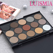 Eyeshadow Palette - Luismia 15 Colours Waterproof Smoky Natrual Naked Make up Eye shadow Kit Eyebrow Mineral Powder kit