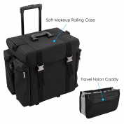 Sunrise Soft Rolling Hairstylist & Makeup Case, 2 Wheels with Travel Nylon Caddy