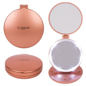 iLuminate Lighted Makeup Compact Mirror with 1X and 5X Magnification, Reflections To Go Magnifying Trifold Travel Mirror fits in Purse, LED Ring Lights, Battery Operated, Small