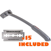 NEW! BRO SHAVER BACK HAIR SHAVER uses Refillable Standard Double Edge Safety Razor Blades Replaceable for Pennies, DIY, Stainless Steel Bolts. bakBlade